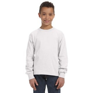 Fruit of the Loom Boys' White 100-percent 5-ounce Heavy Cotton Heather Long-sleeved T-shirt
