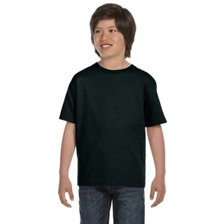Hanes Boys ComfortSoft Black Cotton/Polyester Heavyweight T-shirt