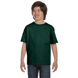 Hanes Boy's Green Cotton, Polyester T-shirt
