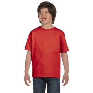 Hanes Boys' Red Cotton/Polyester T-shirt