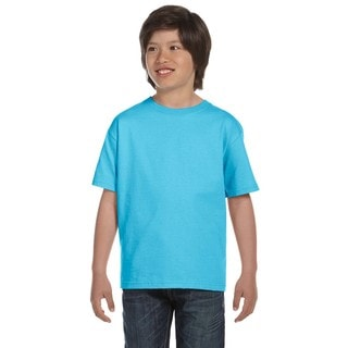 Hanes Boys' Comfortsoft Light Blue 5.2-ounce Cotton/Polyester Heavyweight T-shirt
