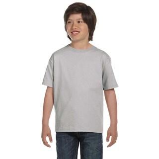 Hanes Boys' Comfortsoft Light Steel 5.2-ounce Cotton and Polyester Heavyweight T-shirt