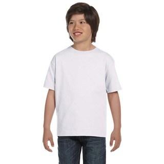 Hanes Boys' ComfortSoft White Cotton/Polyester Heavyweight T-shirt