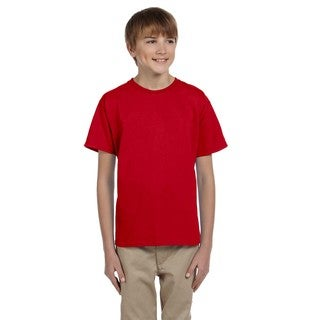 Gildan Boy's Red Cotton, Polyester T-shirt