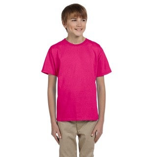 Gildan Boy's Pink Cotton, Polyester Short Sleeve T-shirt