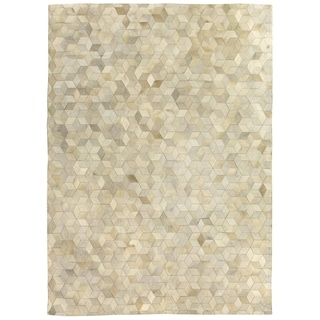 Exquisite Rugs Stitched Blocks Ivory Leather Hair-on-hide Rug (9'6 x 13'6)