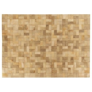 Exquisite Rugs Stitched Blocks Ivory/Grey Leather Hair-on-hide Rug (9'6 x 13'6)