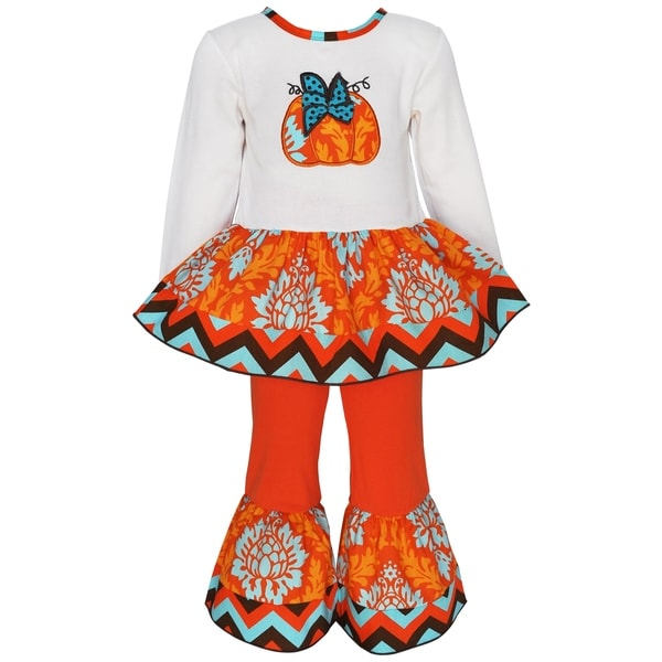 Ann Loren Girls Multicolor Cotton Boutique Pumpkin Patch Damask Thanksgiving Outfit