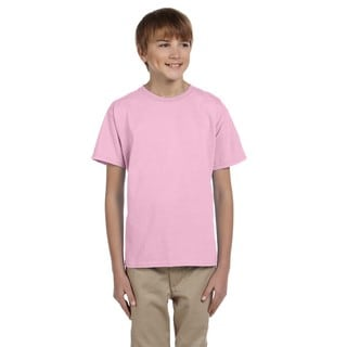 Gildan Boys' Ultra Light Pink Cotton/Polyester T-shirt
