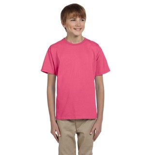 Gildan Boys' Safety Pink Cotton/Polyester T-Shirt