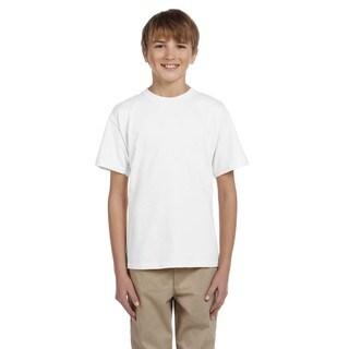 Gildan Boy's White Cotton, Polyester T-shirt