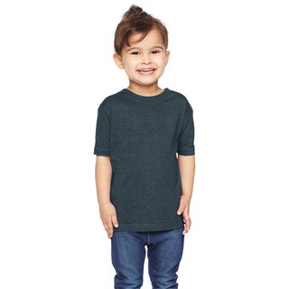 Boys' Heathered Navy Cotton-blended T-shirt