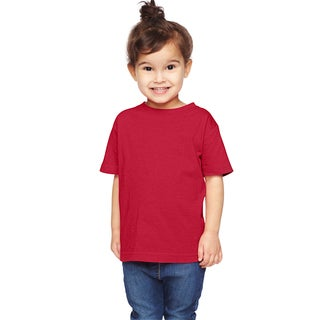 Boy's Red Cotton, Polyester Short Sleeve T-shirt