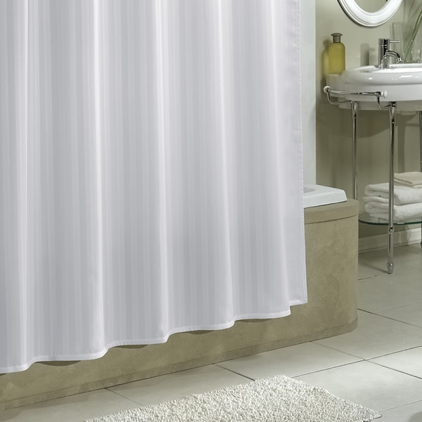 Excell White Damask Stripe Fabric Shower Curtain Liner