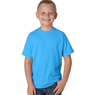 Hanes X-Temp Boy's Blue Cotton, Polyester Short Sleeve Performance T-shirt