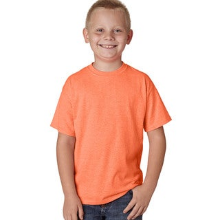 Hanes X-Temp Boys' Neon Orange Cotton and Polyester Heather Performance T-shirt
