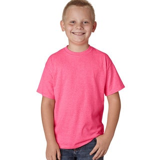Hanes Boys' X-Temp Neon Pink Cotton/Polyester Heather Performance T-shirt