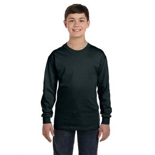 Hanes Boys Black Cotton/Polyester Long-sleeve T-shirt