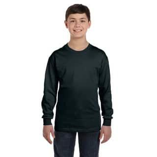 Hanes Boys Black Cotton/Polyester Long-sleeve T-shirt|https://ak1.ostkcdn.com/images/products/12133134/P18990459.jpg?impolicy=medium