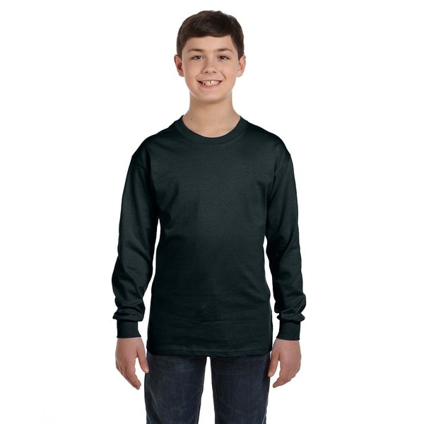 ee1a910b Shop Hanes Boys Black Cotton/Polyester Long-sleeve T-shirt - On Sale - Free  Shipping On Orders Over $45 - Overstock - 12133134