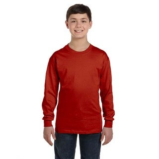 Hanes Boys' Comfortsoft Deep Red Cotton-blended Tagless Long-sleeved T-shirt