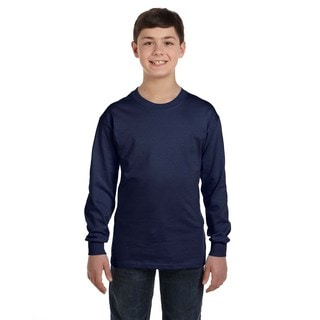 Comfortsoft Youth Navy Cotton and Polyester Tagless Long-sleeve T-Shirt