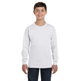 Hanes Youth White ComfortSoft Cotton Tagless Long-sleeved T-shirt