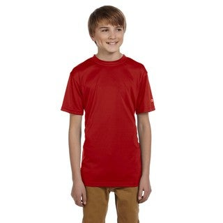 Champion Boys' Double Dry Scarlet Cotton and Polyester T-shirt