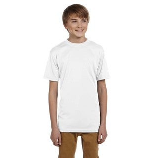 Boys' White Cotton and Polyester Double Dry T-shirt