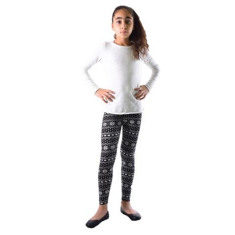 Girls' Black/White Winter Print Nylon/Spandex Leggings
