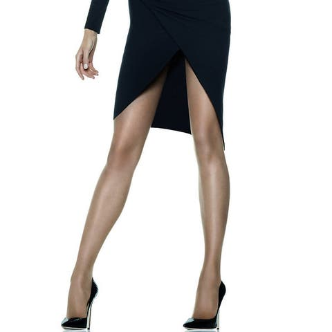 Silk Reflections Womens Sheerest Support Control Top Sheer Toe Barely Black Pantyhose