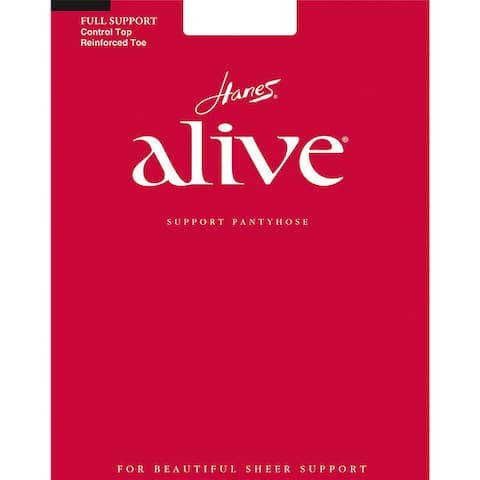 Alive Womens Barely Black Full Support Control Top Reinforced Toe Pantyhose