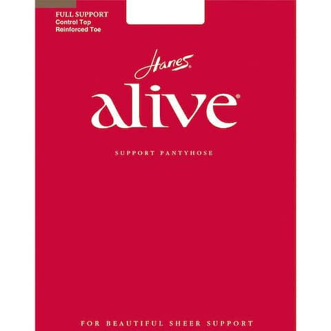 Alive Womens Barely There Full Support Control Top Reinforced Toe Pantyhose