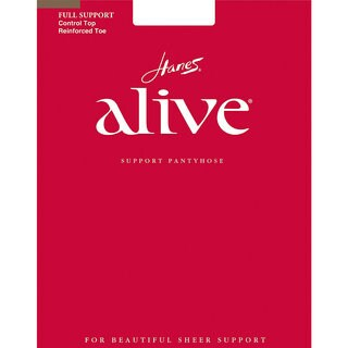 Alive Women's Barely There Full Support Control Top Reinforced Toe Pantyhose