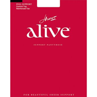 Alive Women's Jet Full Support Control Top Reinforced Toe Pantyhose