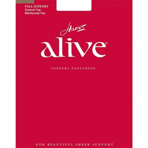 Alive Womens Little Color Full Support Control Top Reinforced Toe Pantyhose