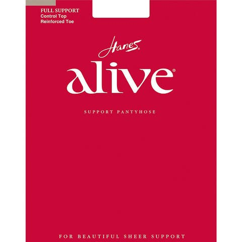 Alive Womens Full Support Control Top Reinforced Toe Pantyhose Nude