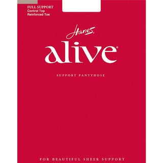 Alive Women's Full Support Control Top Reinforced Toe Pantyhose Nude