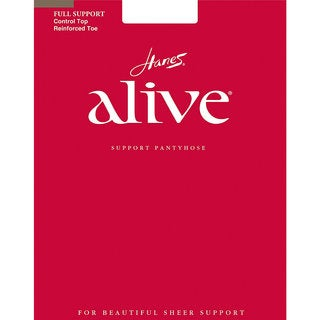 Hanes Women's Alive Brown Nylon, Spandex Full Support Control Top Reinforced Toe Pantyhose