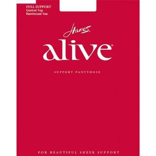 Hanes Women's Alive White Nylon/Spandex Control-top Reinforced-toe Pantyhose