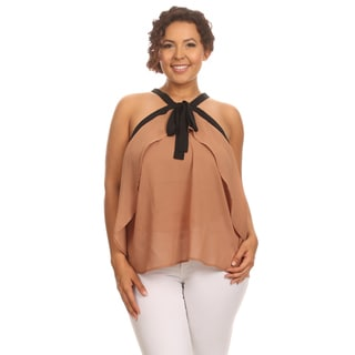 Hadari Plus Size Sleeveless top with neck tie
