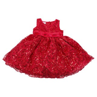 Blueberi Boulevard Baby Girls' Red Polyester US Size 12 Sleeveless Dress