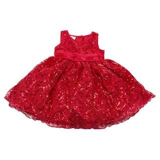Blueberi Boulevard Baby Girls' Red Polyester US Size 12 Sleeveless Dress