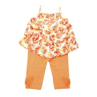 First Impressions Girls' Orange Cotton Sleeveless Size 24 Months US 2-piece Outfit
