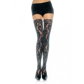 Leg Avenue Black Nylon Lace Top Thigh Highs