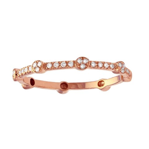 10k Pink Gold 1/6ct TDW Diamond Stackable Eternity Band Ring