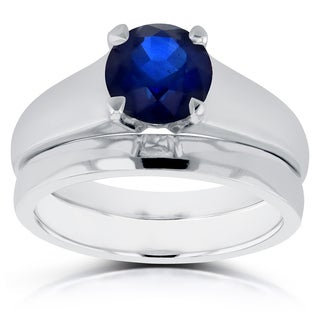 Annello by Kobelli 14k White Gold 1 1/4ct Round Blue Sapphire Solitaire Bridal Set