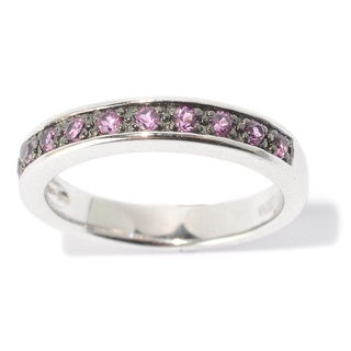 White Platinum over Silver Multicolor Round Gemstone Midi Ring