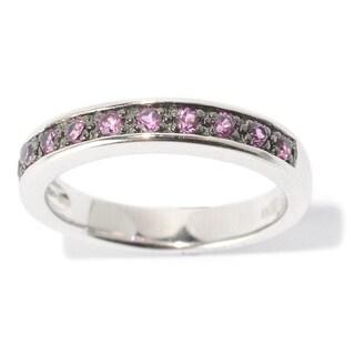 White Platinum over Silver Multicolor Round Gemstone Midi Ring