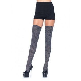 Leg Avenue Heather-grey Rib-knit Thigh Highs